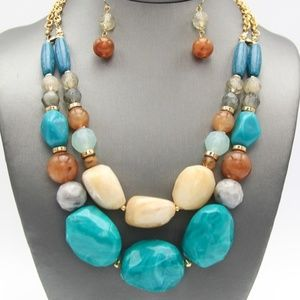Jewelry - Turqouise and Brown Marbleized Necklace Set